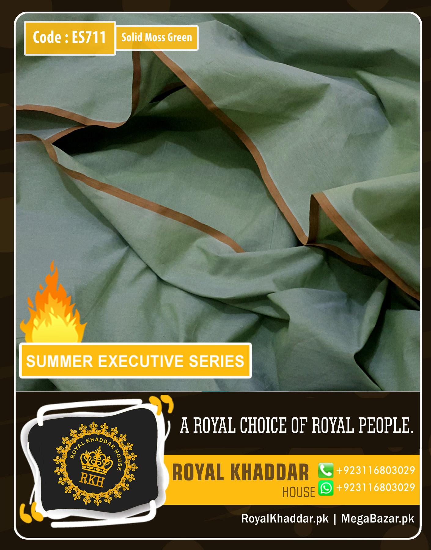 Solid Green Summer Khaddar ES711