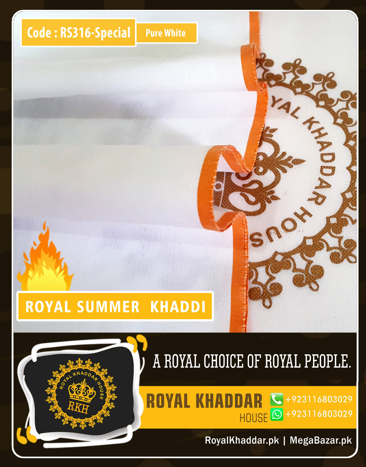 Pure White Special Royal Summer Khaddar RS316-Special
