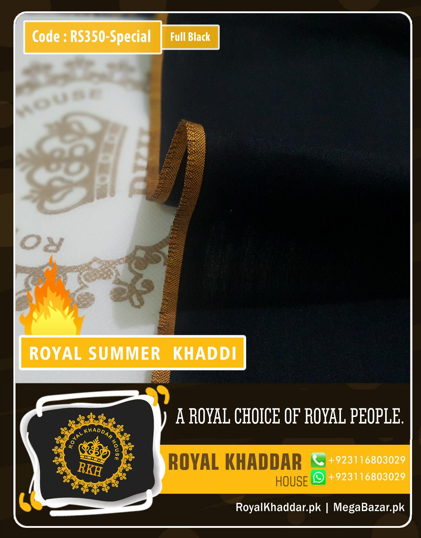 Full Black Special Royal Summer Khaddar RS350-Special