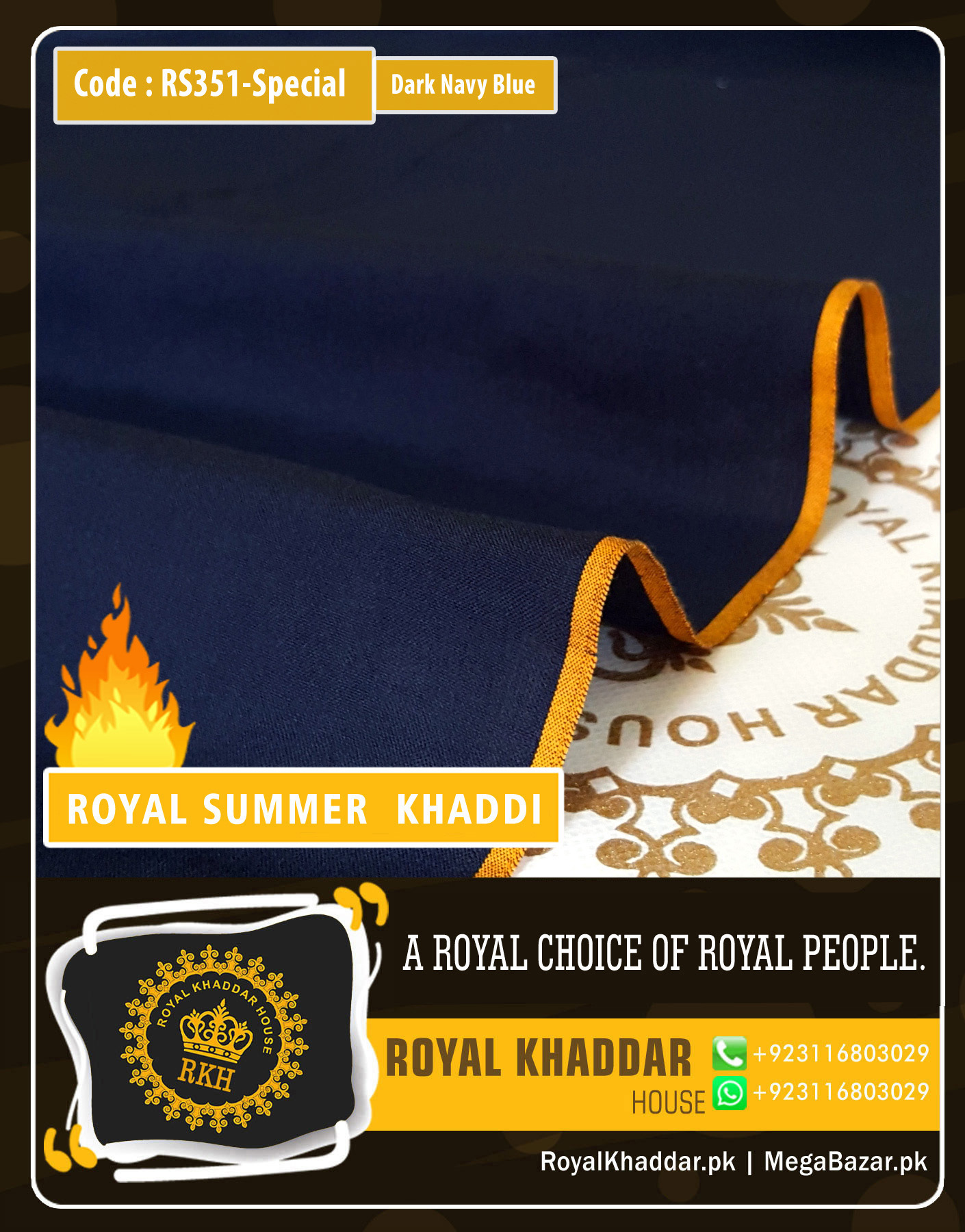 351 Dark Navy Blue Special Royal Summer Khaddar