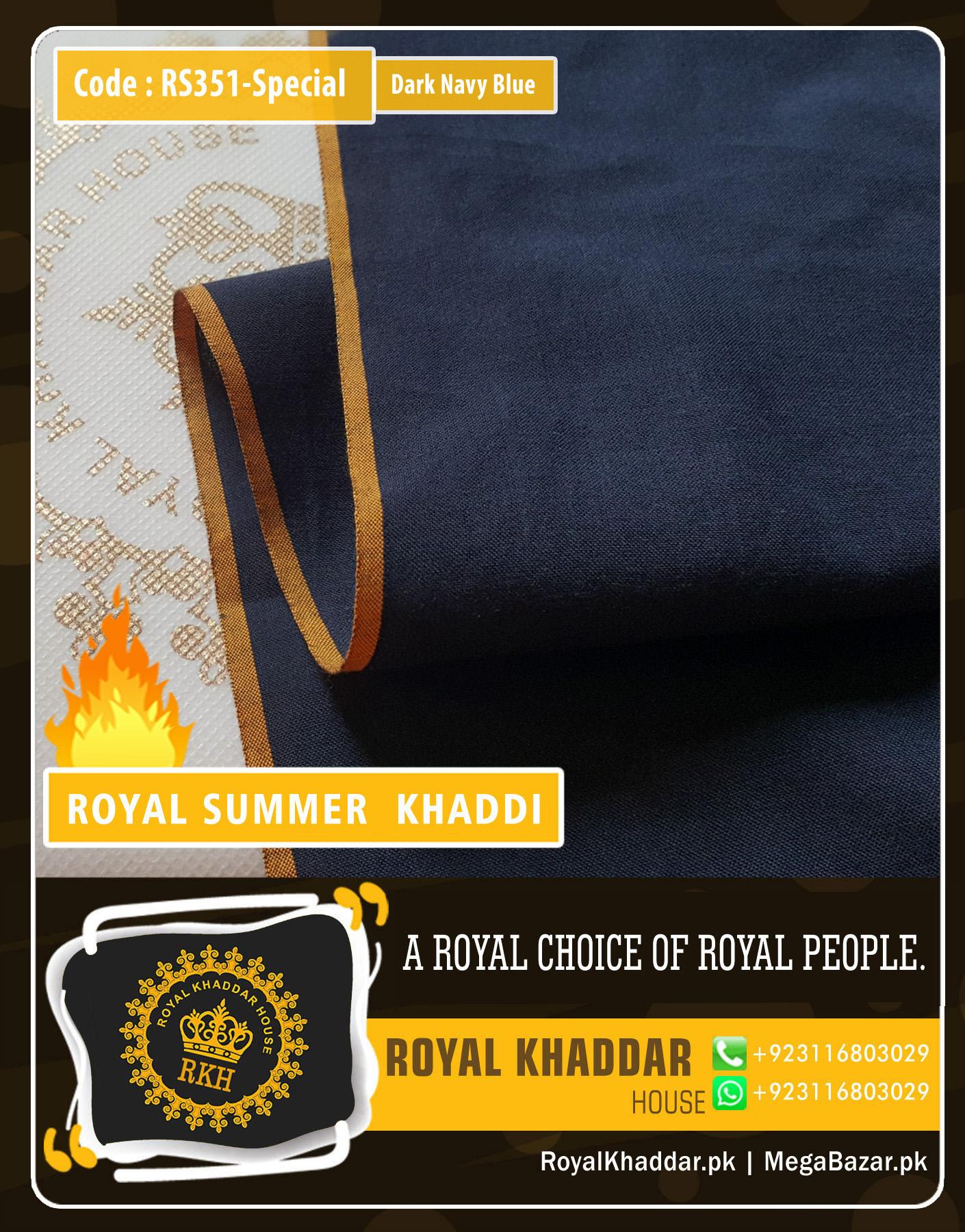 Dark Navy Blue Special Royal Summer Khaddar RS351-Special