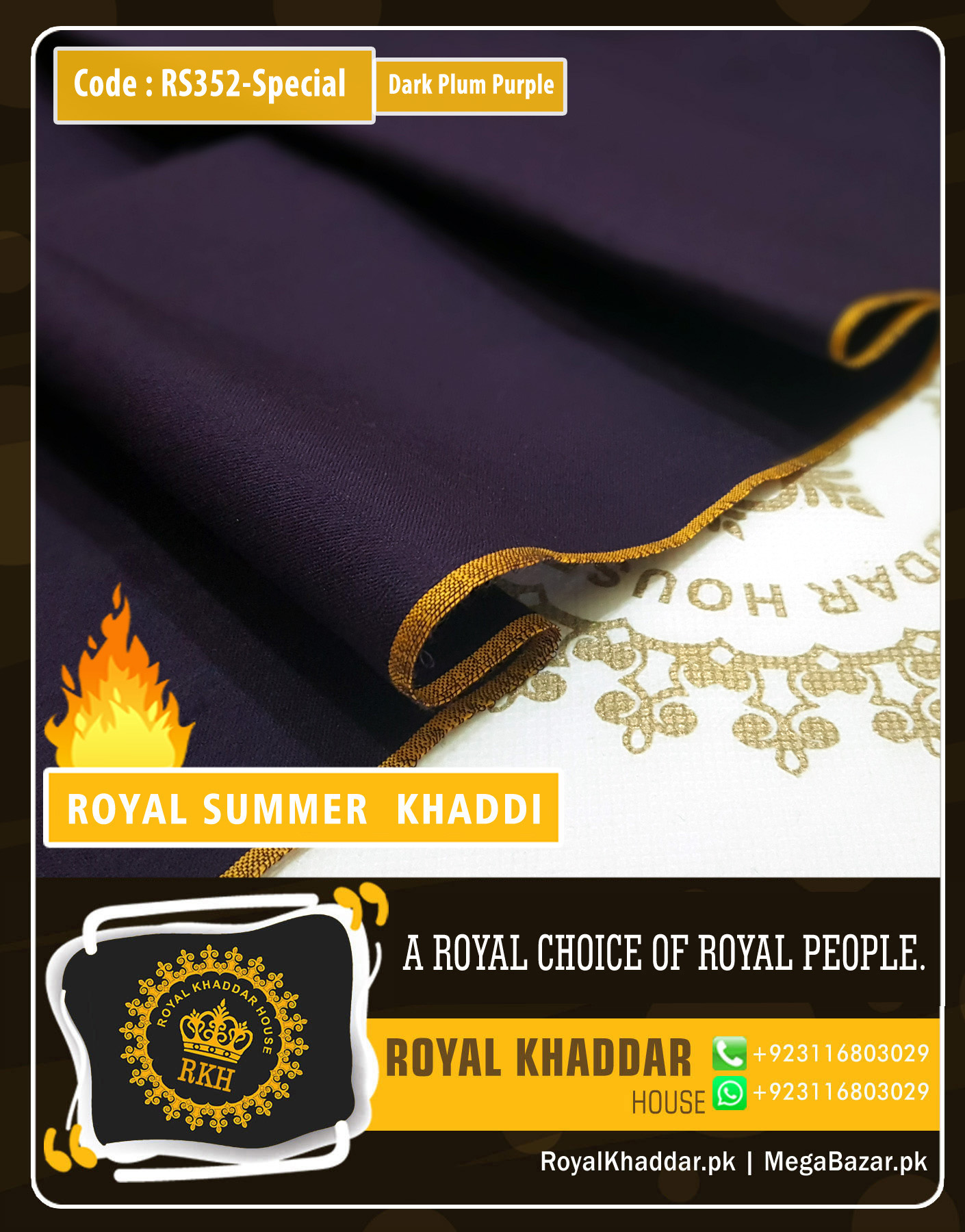 Dark Plum Purple Special Royal Summer Khaddar RS352-Special