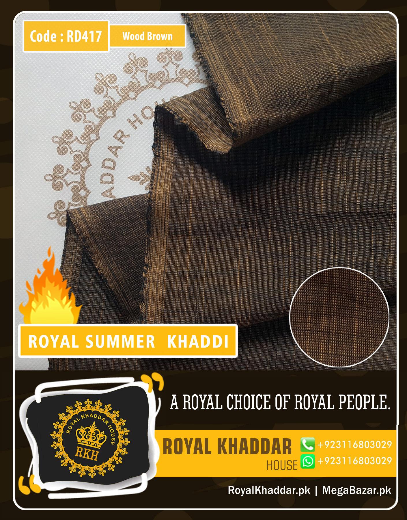 Wood Brown Royal Summer Designer Khaddar