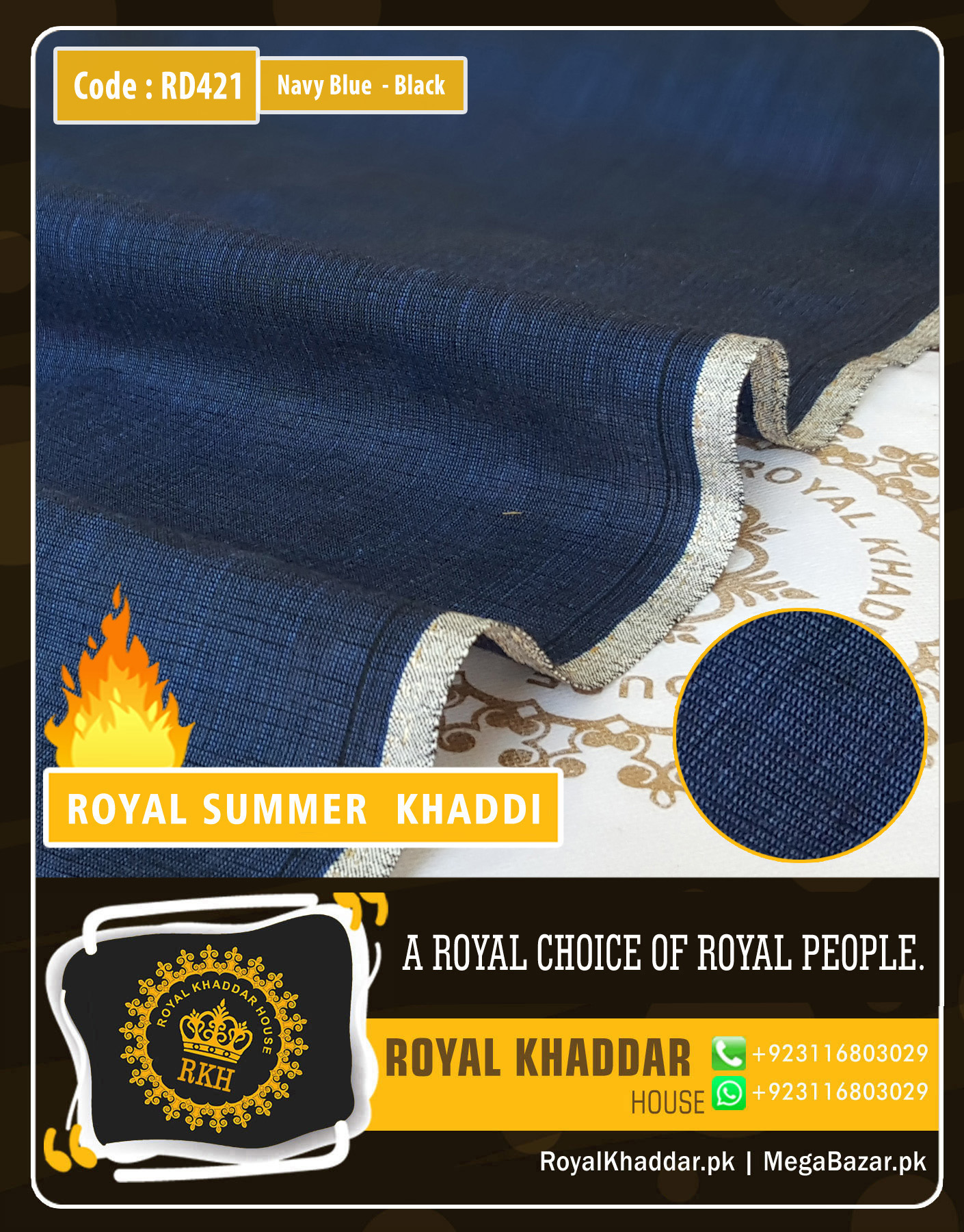 Navy Blue - Black Royal Summer Designer Khaddar RD421