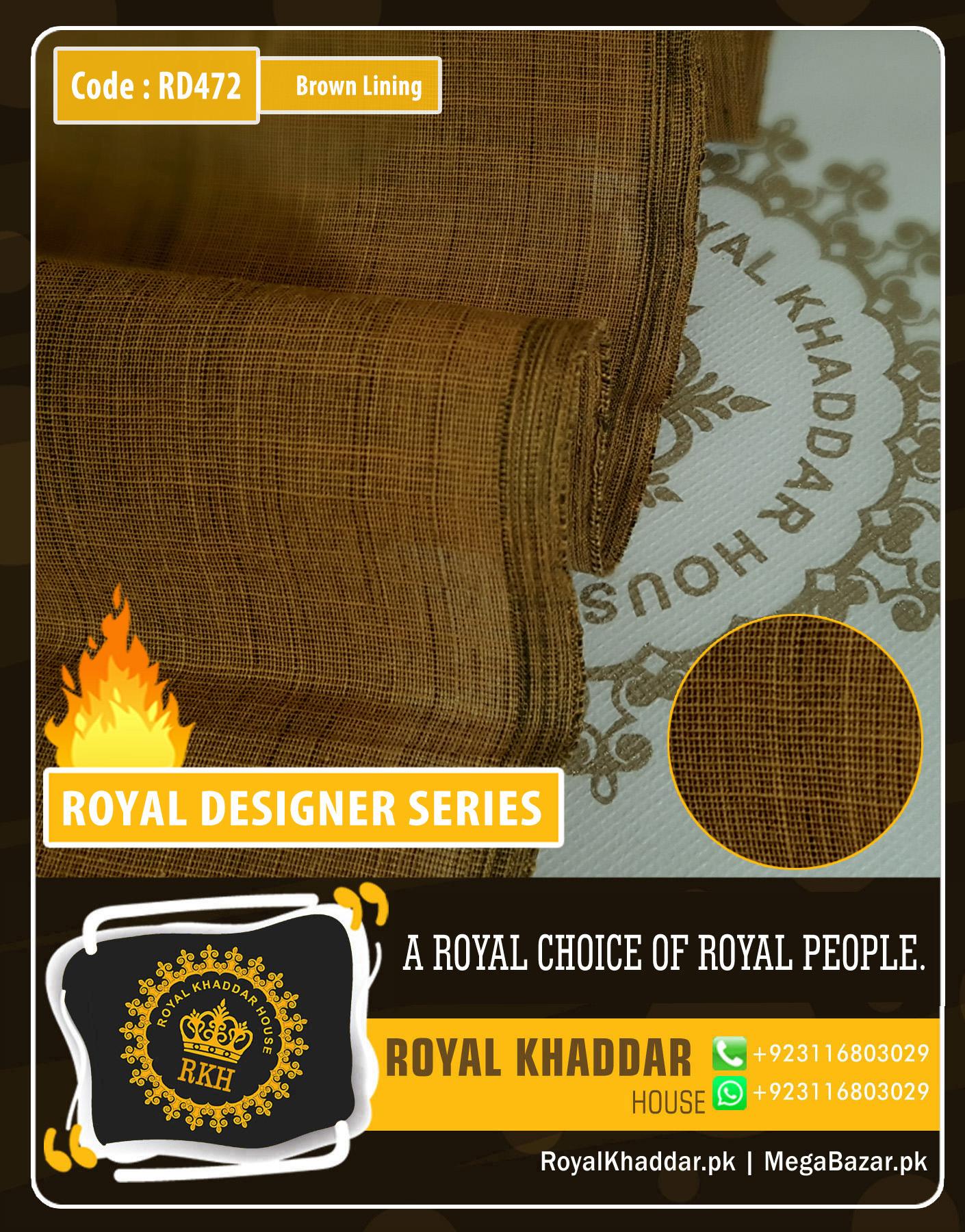 Brown Lining Royal Summer Designer Khaddar RD472