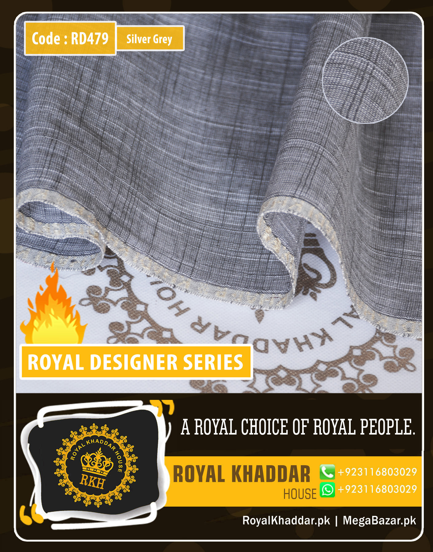 Silver Grey Royal Summer Designer Khaddar RD479