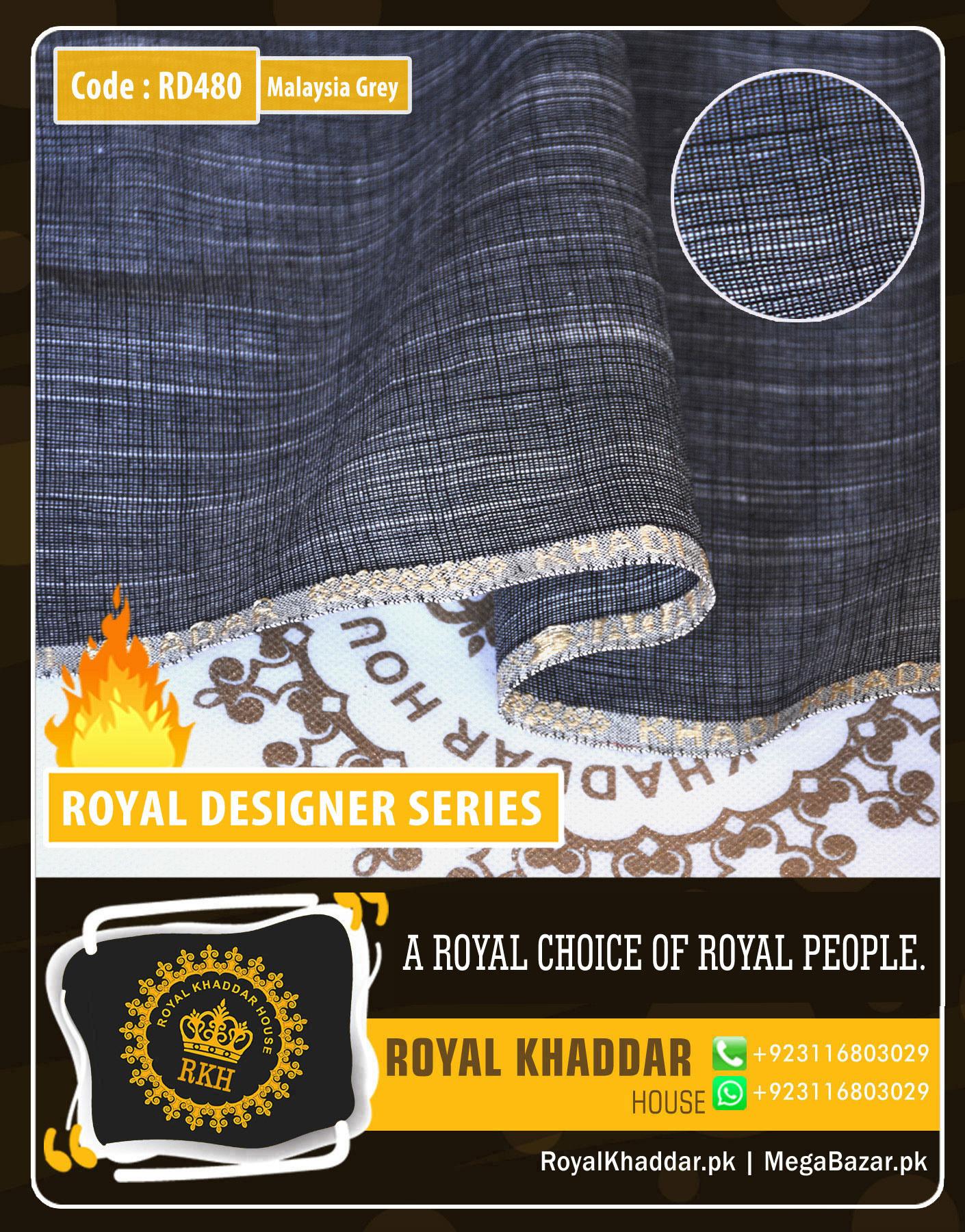 Dark Grey Royal Summer Designer Khaddar