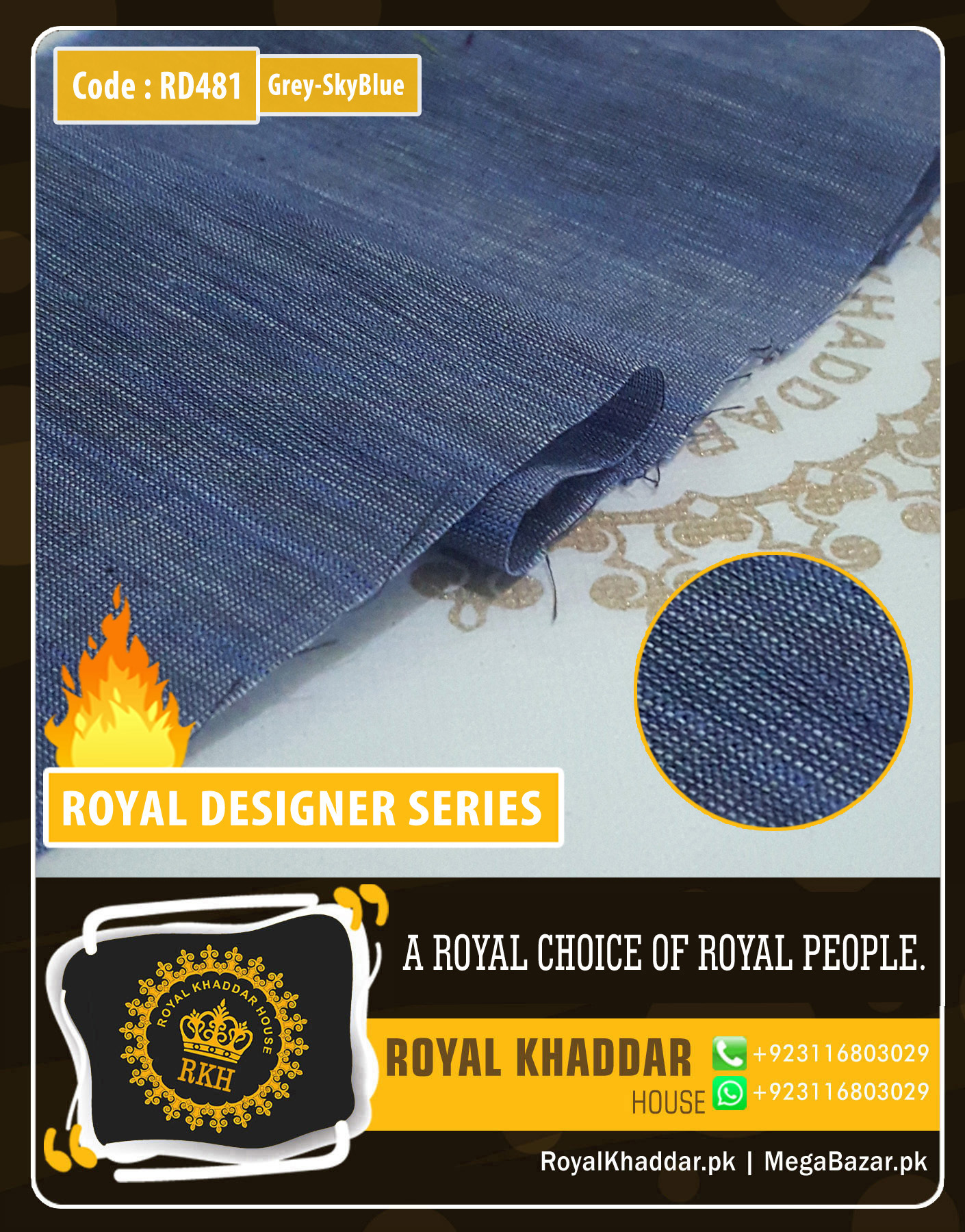 Skyblue Grey Royal Summer Designer Khaddar RD481