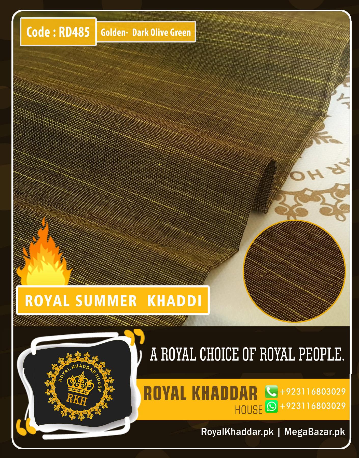 Golden - Dark Olive Royal Summer Designer Khaddar
