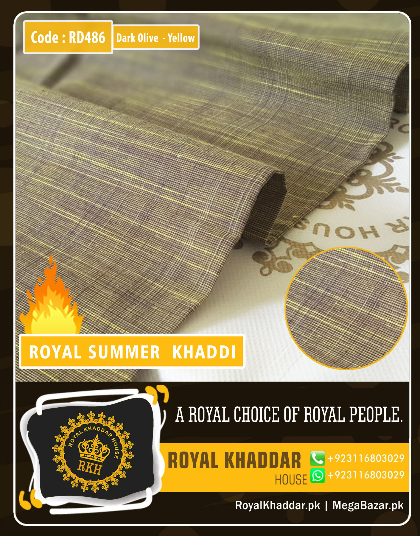 Yellow - Dark Olive Royal Summer Designer Khaddar RD486