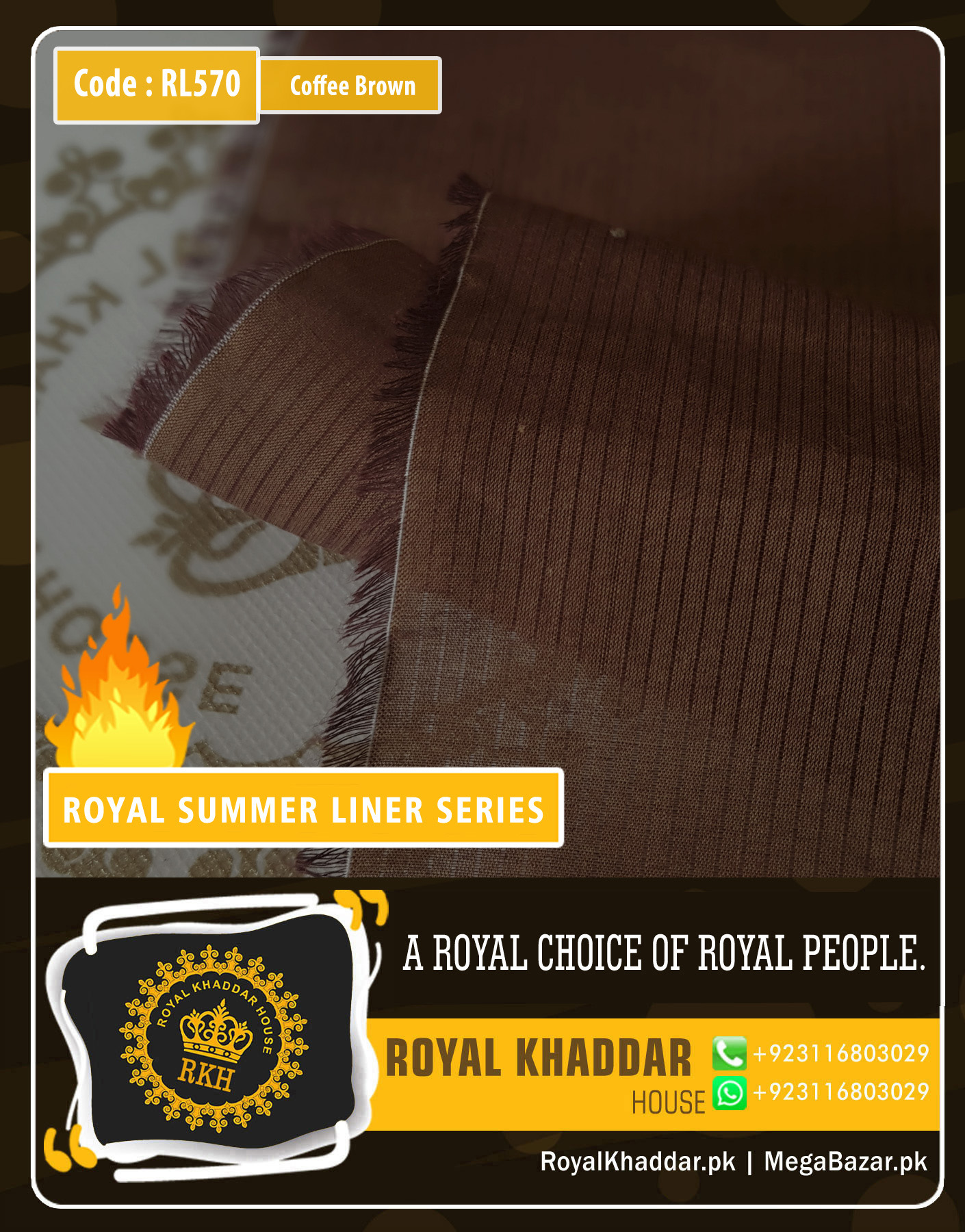 Coffee Brown Summer Liner Khaddar RL570