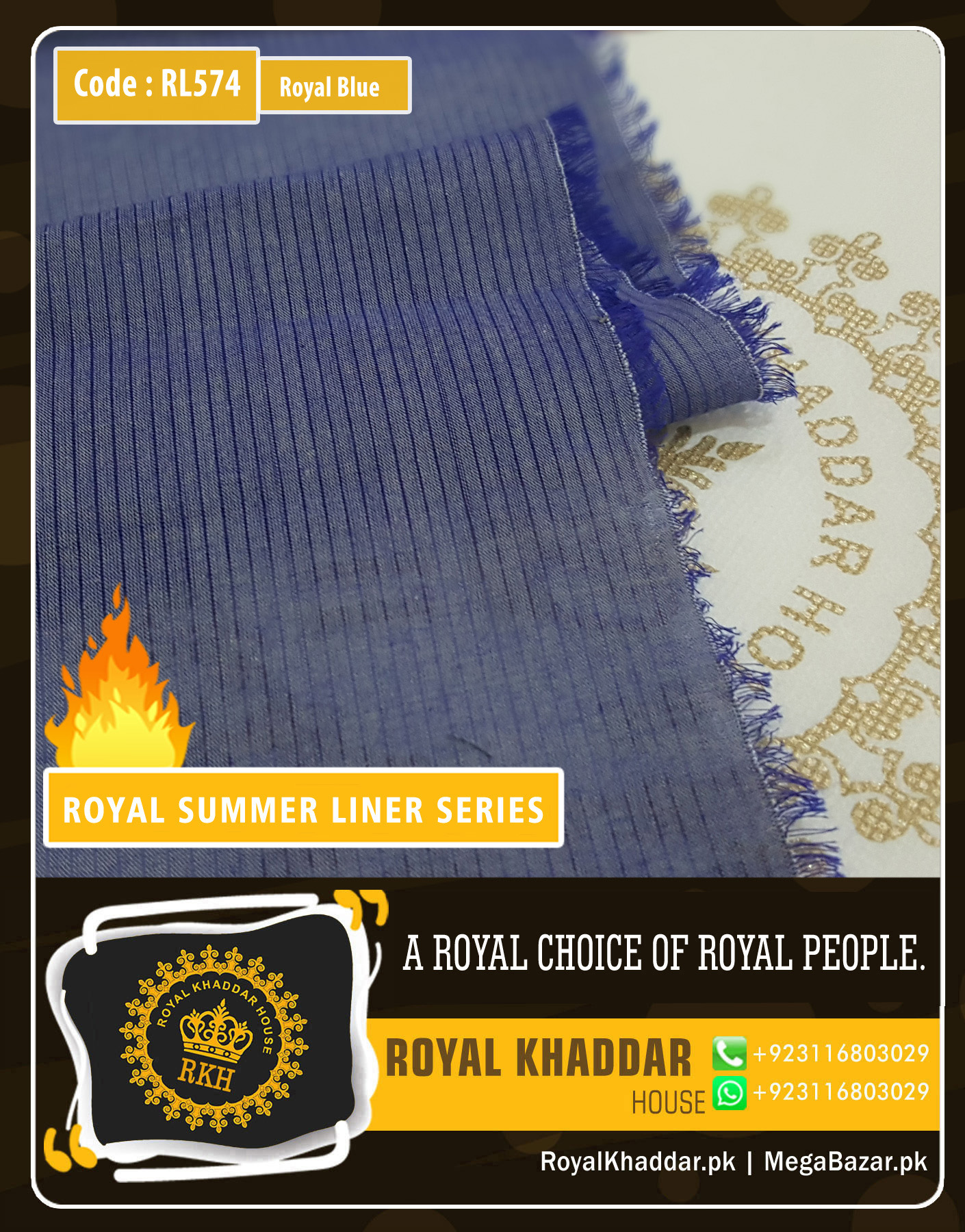 Royal Blue Summer Liner Khaddar RL574