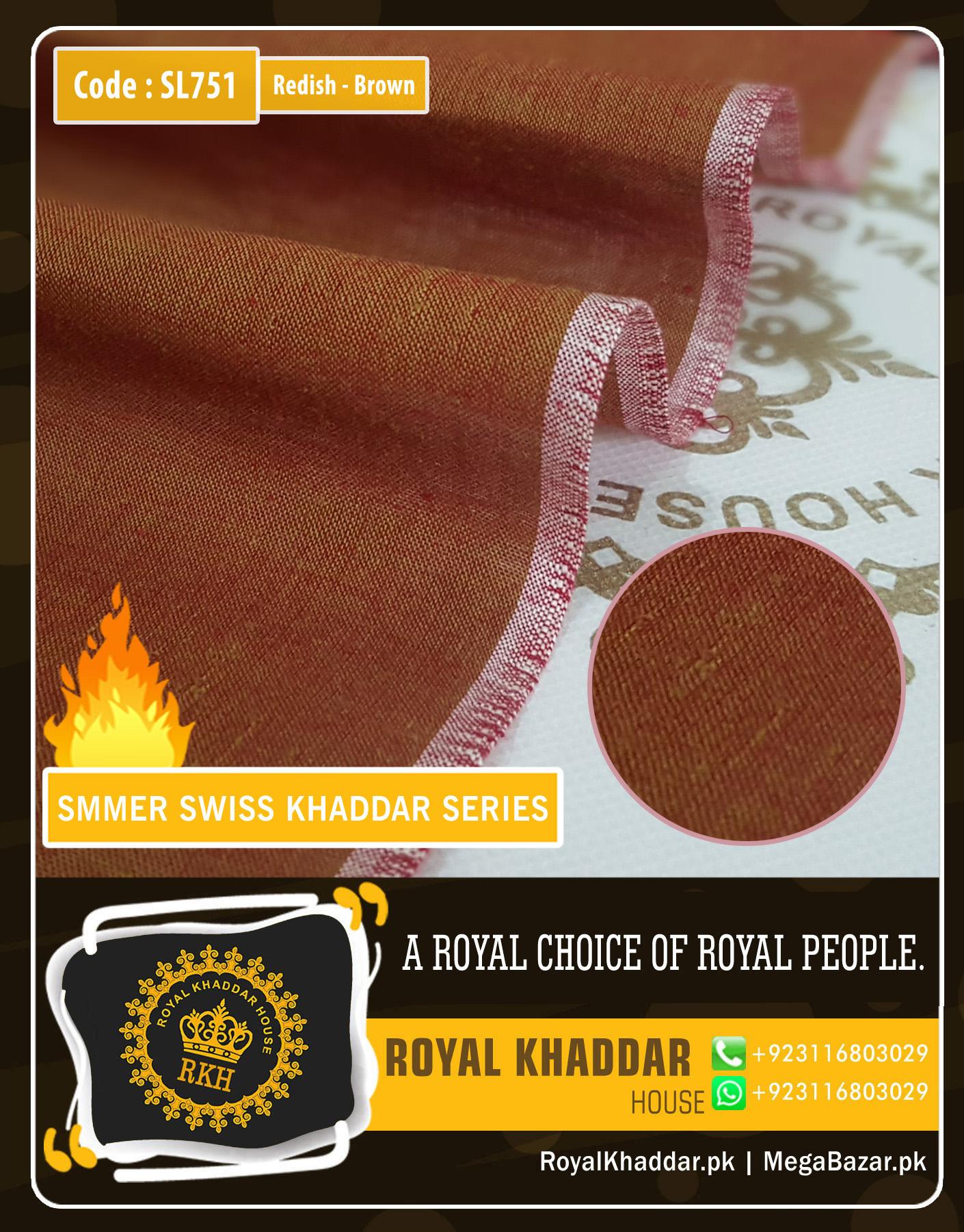Reddish Brown Swiss Khaddar 751