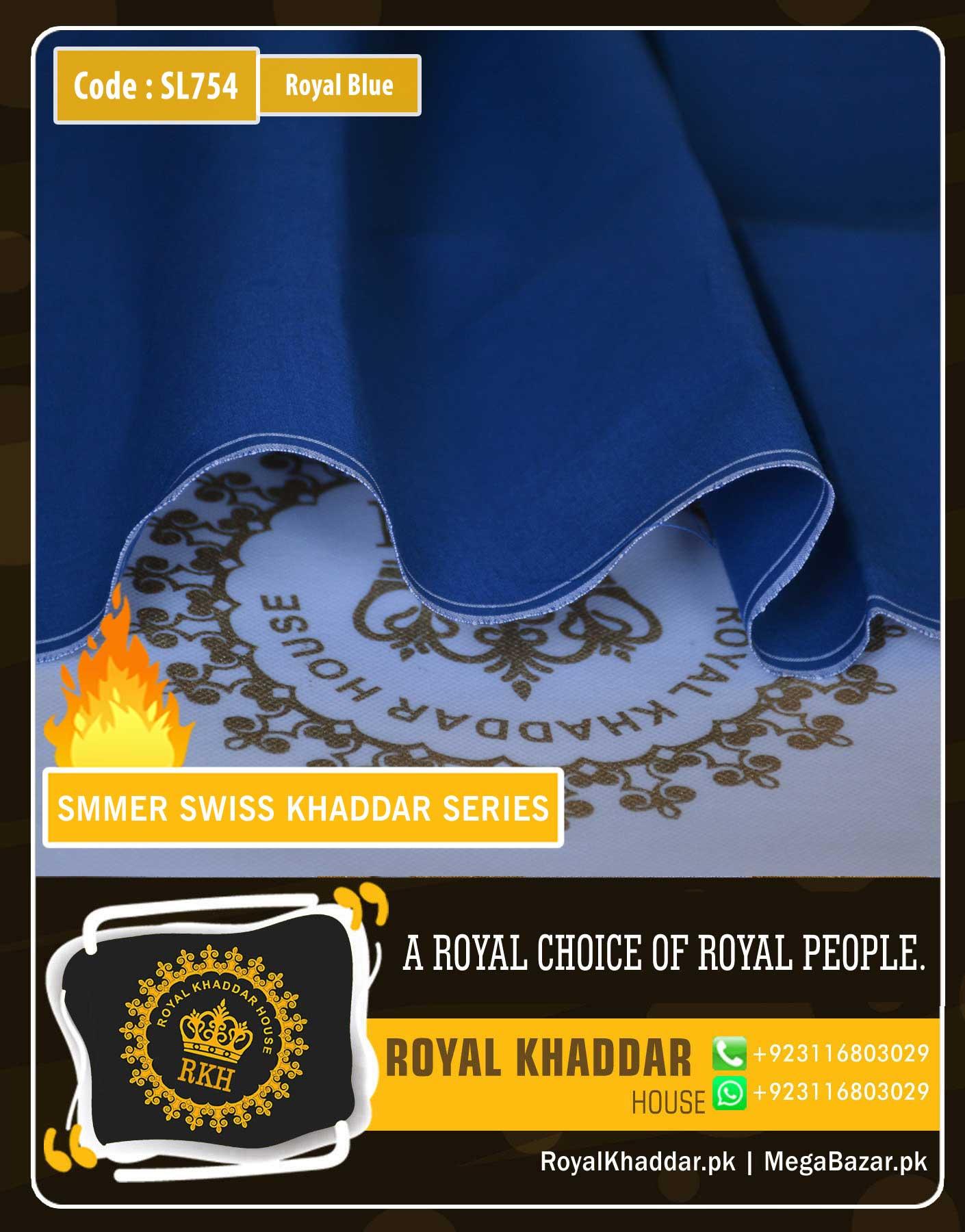 Royal Blue Swiss Khaddar ES754