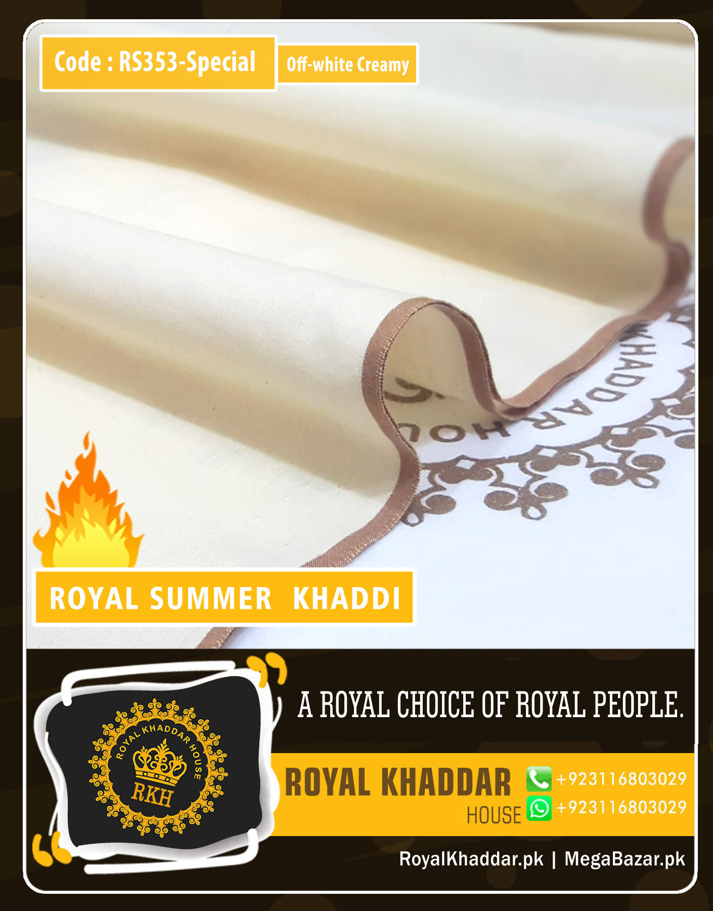 RS353 Off-White Special Royal Summer Khaddar